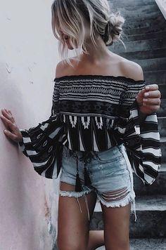 summer outfit off shoulder top + denim shorts