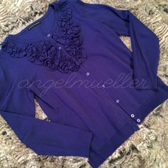 """Deep blue sweater This sweater is a very deep indigo blue. The neckline is accented with ruffle-like flowers. Length: 25"""", bust: 18.5"""", sleeve length: 23.5"""". Perfect condition. Grace Elements Sweaters Cardigans"""