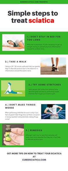 Here's some sciatica treatment tips. Have a plan of attack when using these ti… Here's some sciatica treatment tips. Have a plan of attack when using these tips. Treating Sciatica, Sciatica Stretches, Sciatica Symptoms, Sciatica Pain Relief, Sciatic Pain, Sciatica Pain Treatment, Home Exercise Program, Home Treatment, Sciatica