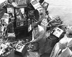 Slot Machines Destroyed At Sea New York 1934 Vintage 8x10 Reprint Of Old Photo