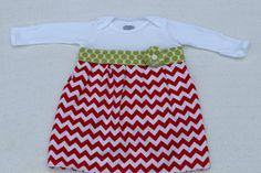Baby Girl Onesie Dress-Christmas Holiday Dress Red Chevron with Green Dot and Fabric Flower - Baby Shower Gift-Newborn Take Home Outfit on Etsy, $25.00