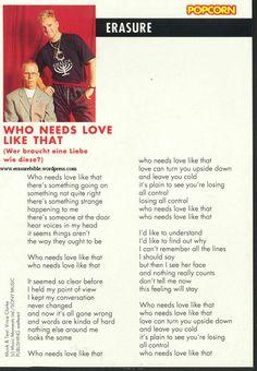 1992 - Popcorn (1992) - Who needs love like that lyrics (back), Germany (wm)
