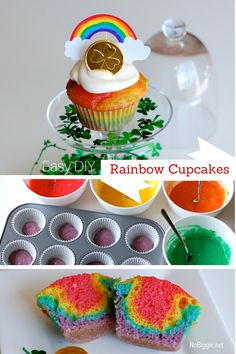 Easy DIY cupcakes | make rainbow cupcakes inside and out! | NoBiggie.net