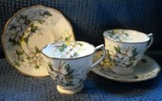 White Dogwood pattern cups and saucers, English bone china purchased at Niagara Falls, Canada.  One for Mom, one for me.