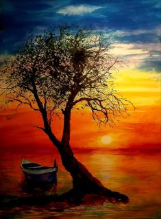 Celestial, Sunset, Painting, Outdoor, Art, Outdoors, Art Background, Painting Art, Kunst