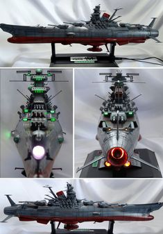 "1/500-scale Bandai Yamato model, customized by ""Nicochan Mark 1"".  Angles: port and starboard midline, forward and aft dorsal."