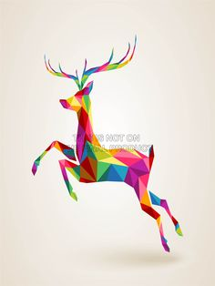 Painting Illustration Running Leaping Deer Polygon ART Print Poster MP3175B | eBay