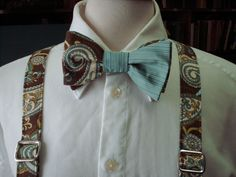 Paisley Bow Tie And Suspender set / Custom by CarolynnRedwineGeer, $113.00