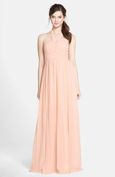 """Jenny Yoo 'Leah' Convertible Chiffon Gown available at - available in purple - one dress and several ways to wear it, nice option to """"mix and match"""" Blush Evening Dress, Blush Gown, Evening Dresses, Women's Dresses, Long Dresses, Blush Bridesmaid Dresses Long, Bohemian Bridesmaid, Bridesmaids, Formal Dresses For Women"""