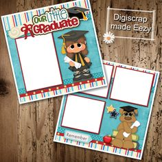 Our Little Graduate girl-2 Premade Scrapbook Pages for printing or digital scrapbooking by AdrisCorner on Etsy Book Sites, Scrapbooks, Photo Book, Scrapbook Pages, Digital Scrapbooking, Custom Design, Graduation, Corner, Printing