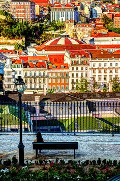 View from Eduardo VII park, Lisbon, Portugal