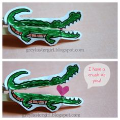 grey luster girl: Kids Alligator Valentine's Day Clothes Pin Craft