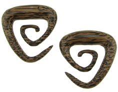 Large Gauge Coconut Wood Triangular Spiral Earrings