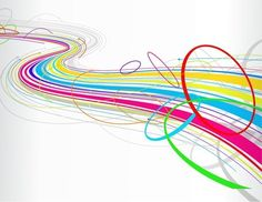 Rainbow line deep space feeling  flowing line with movement and color