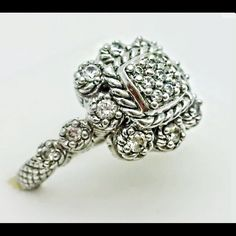 Judith Ripka Statement Ring, 8 Beautiful statement ring from Judith Ripka, 925 sterling in excellent condition, no tarnish or wear.  Big and bold enough to get noticed, but still simple and elegant.  Hard to let this one go! Judith Ripka Jewelry Rings