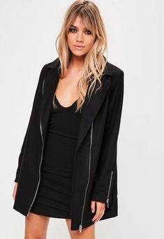 Manteau croisé noir en fausse laine