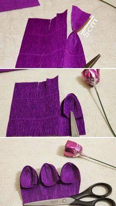 Cómo hacer flores en papel crepé con dulces o caramelos adentro ~ lodijoella