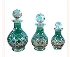 I love these glass perfume bottles for a vanity. I find all different ones at antique shops.