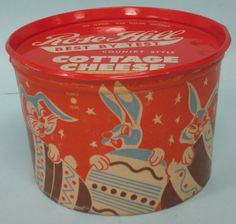 Vtg Rose Hill Dairy Cottage Cheese Container Bluffton Indiana Easter Bunny Eggs