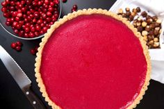 If you are a fan of lemon curd or the classic French tarte au citron, you will l. - World of Desserts: Pie - If you are a fan of lemon curd or the classic French tarte au citron, you will love this cranberry - Tart Recipes, Cookie Recipes, Dessert Recipes, Cranberry Curd Tart Recipe, Cranberry Recipes, Roasted Nuts, Thanksgiving Desserts, Holiday Desserts, Hosting Thanksgiving
