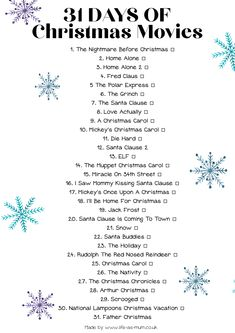 Nov 2019 - A list of Christmas Movies! Watch one every day throughout December! Kids Christmas Movies, Christmas Movie Night, Mickey Christmas, Christmas Mood, Christmas Carol, List Of Christmas Movies, List Of Halloween Movies, Christmas List Ideas, Chrismas Movies