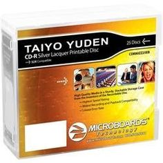 Taiyo Yuden CD-R 52X Silver Thermal Lacquer 25-Disc Spindle by Taiyo Yuden. Save 13 Off!. $6.99. This is a 25-disc pack of silver thermal lacquer 700MB blank CD-Rs. Taiyo Yuden, the inventor of CD-recordable technology, offers media certified for the highest recording speeds and branded media designed especially for Microboards Print Factory.Microboards Technology offers the highest quality CD-recordable media from Taiyo Yuden, Inc., the leader in CD-R manufacturing. In today's high-volume…