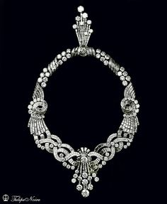 Queen Nariman's Boucheron parure: A year before his wedding to Queen Nariman, King Farouk ordered a parure from Boucheron. The parure consisted of a necklace, a brooch and earrings made of sapphire, topaz and diamonds. Its cost at that time came up to 5.7 million francs. Queen Nariman wore the parure on her wedding day along with a tiara. It's not known where the parure and the tiara are now!