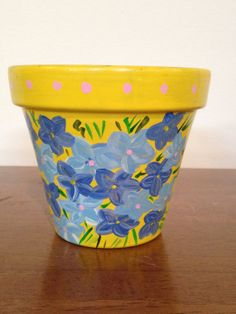 Hand Painted 4 inch Decorative Flower Pot  by DayDreamingDecor, $15.00
