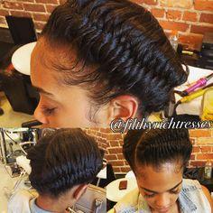 """""""Fishtail   #atlhair #atlbraids #atlsewin #goddessbraids #myhaircrush #braidsgang #gsu #braidsbeauties #naturalhairdaily #atlsilkpress #atlhairstylist…"""""""