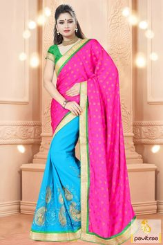 Stand out uniquely with gorgeous turquoise and dark pink georgette wedding saree with price. The gorgeous embroidery worked designer party saree with special discount deal on Diwali and Wedding special season 2015-2016. #sarees, #embroiderysaree, #partywearsaree, #diwalisareecollection, #weddingwearsaree, #indiansaree, #sareewithblouse More : http://www.pavitraa.in/store/embroidery-saree/ Call / WhatsApp : +91-76982-34040  E-mail: info@pavitraa.in