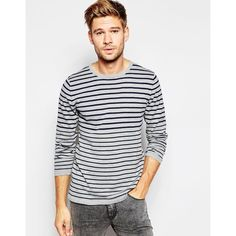 Esprit Stripe Knitted Jumper (77 BRL) ❤ liked on Polyvore featuring men's fashion, men's clothing, men's sweaters, mid grey, mens gray sweater, mens grey sweater, mens cotton sweaters, mens tall sweaters and mens striped sweater