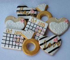 Bridal Shower Cookies Engagement cookies / 1 dozen by Scookies