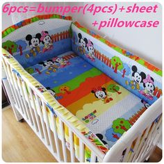 42.80$  Watch now - http://ai5d2.worlditems.win/all/product.php?id=32366196702 - Promotion! 6PCS Baby Crib Sets,100% Cotton Fabrics Baby Bedding Sets, (bumper+sheet+pillow cover)