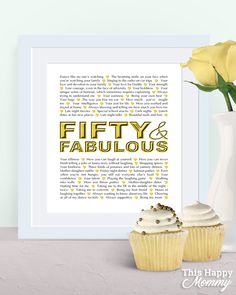 Fifty and Fabulous — The perfect homemade gift for a milestone birthday. #50birthday | thishappymommy.com