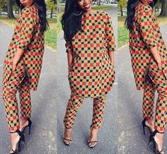Menswear inspired top and pants African by CoCoCremeCouturier