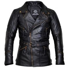 Made from 100% real cowhide leather, this ¾ length black leather jacket is…