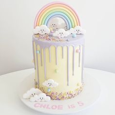 - A sweet cake for the sweetest little gir. Rainbow First Birthday, First Birthday Cakes, Birthday Ideas, Pretty Cakes, Cute Cakes, Cloud Cake, Bolo Cake, Drip Cakes, Buttercream Cake