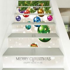 6 Pieces Christmas Small Bells Print Home Stairs Stickers - Stair Stickers Christmas Christmas Tree Pattern, Cheap Christmas, Merry Christmas And Happy New Year, Xmas, Stair Stickers, Wall Stickers, Vinyl Decals, Cheap Vinyl, House Stairs