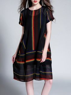 Shop Midi Dresses - Multicolor A-line Short Sleeve Abstract Midi Dress online. Discover unique designers fashion at StyleWe.com.