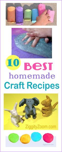 10 Best Homemade Craft Recipes - Moonsand, slime, playdough, snow, bubbles, finger paint, bath crayons, shaped crayons, sidewalk chalk, clay - kids craft recipes- fun, tactile sensory play for kids-  Ziggity Zoom