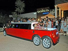 Pink Mini Cooper Stretch Limo With Jacuzzi In Back