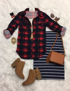 Penny Plaid Flannel Top: Red/Navy from privityboutique
