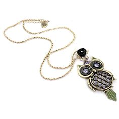Vintage Green Owl Necklace Rs.550