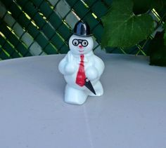 Vintage 1950's Rosbro Christmas Hard Plastic Snowman Rosen Candy Container