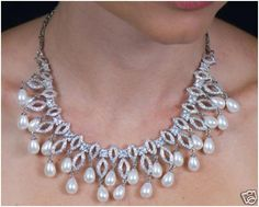 """""""Neelam""""...only $3,700 or P162,800!! 4.24ctw Diamond & Pearl Necklace /38.230G! Imported, world-class quality, not pre-owned, not pawned, not stolen. We deliver worldwide <3"""