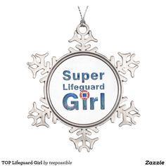 Lifeguard Girl Snowflake Pewter Christmas Ornament.  Great for the girl who guards the beach, lake, or pool.