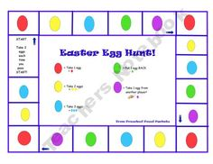 FREE Easter Egg Hunt Game on Teacher's Notebook! Emphasizes counting, colors, and matching! Preschool Games, Easter Activities, Holiday Activities, Preschool Ideas, Teaching Ideas, Teaching Time, Speech Activities, Children Activities, Language Activities