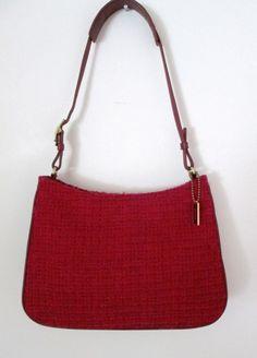 Coach Red Tweed Purse Shoulder Bag Style 8310 Burgundy Lamb Leather  #Coach #ShoulderBag
