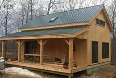 Check out our Vermont Cabin Kit for our most customizable and expandable design. This versatile timber frame cabin can be used as cold storage, two bay garage, living quarters or livestock barn. Visit Jamaica Cottage Shop online today to learn more! Tiny House Cabin, Log Cabin Homes, Diy Cabin, Log Cabins, Mountain Cabins, Mountain Homes, Timber Frame Cabin, Timber Frames, Rustic Home Design