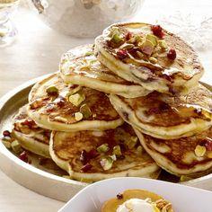 Mini-pancakes cerises et pistaches